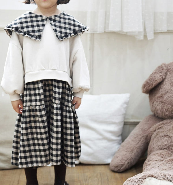 Sweatshirt dress with oversize check collar and tiered skirt in brushed cotton for baby girls kids and children