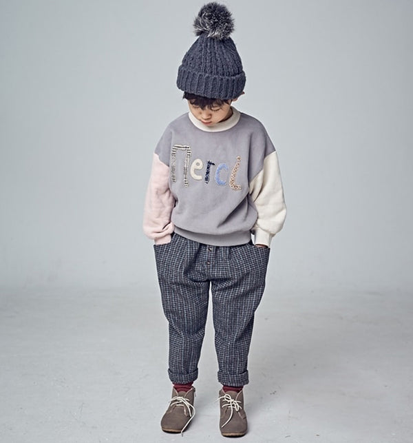 Kids and baby Merci Embroidered colour block Sweatshirt Beige and grey