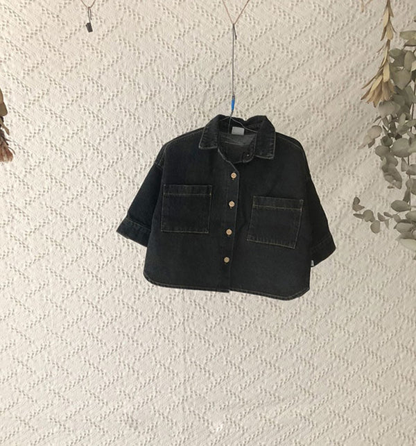Kids & Baby Modern Boxy Denim Jacket Shirt (Black)
