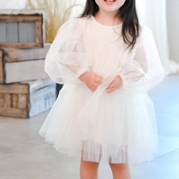 Emmie Sleeve T Shirt Tutu Dress (Cream)