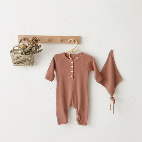 Bebe Ribbed Romper and Bonnet Set (Rose)