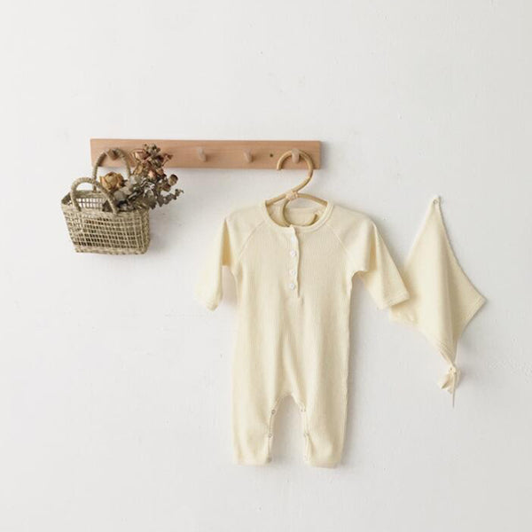 Bebe Ribbed Romper and Bonnet Set (Cream)