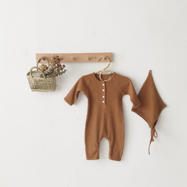 Bebe Ribbed Romper and Bonnet Set (Toffee)