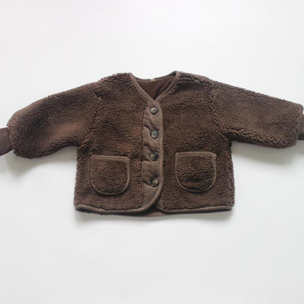 Seto Cord Trim Teddy Coat (Chocolate)
