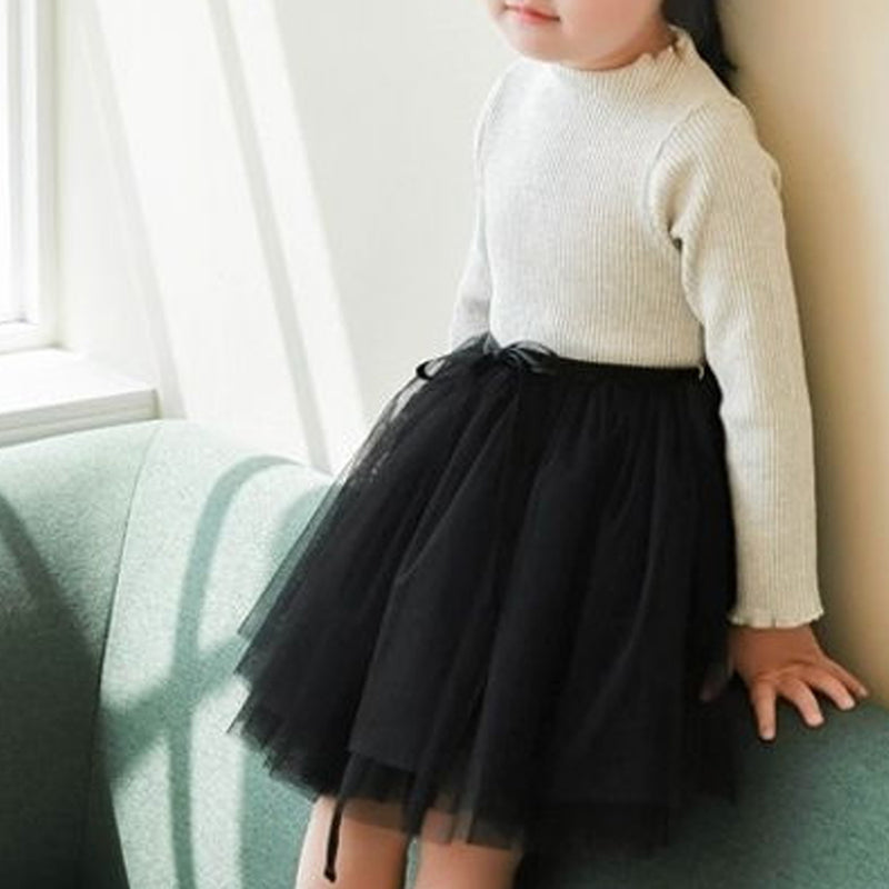 Carrie Oatmeal Rib Tutu Dress (Black)