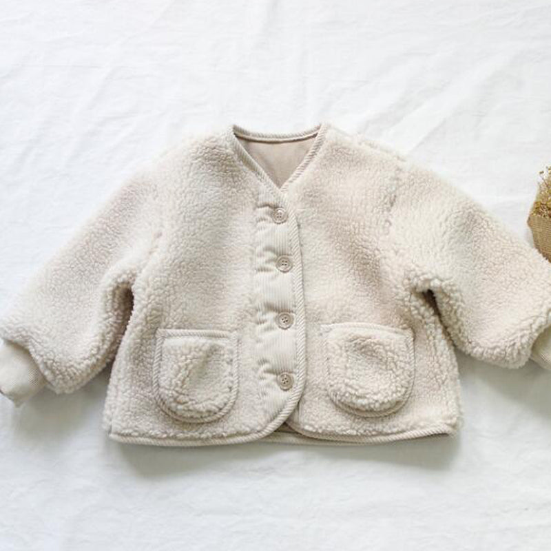 Seto Cord Trim Teddy Coat (Cream)