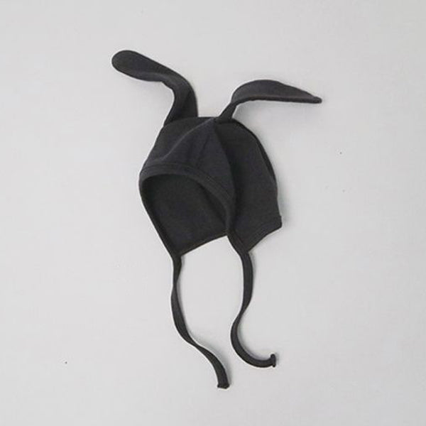 Bunny Ears Soft Cotton Bonnet Hat (Charcoal)