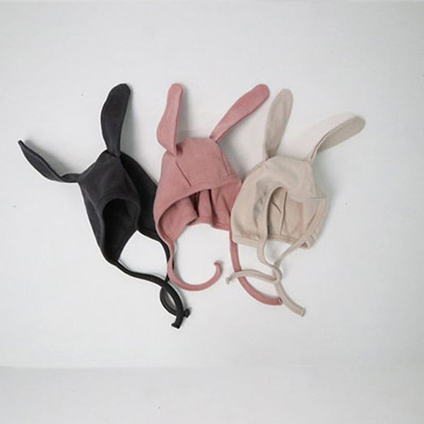 Bunny Ears Soft Cotton Bonnet Hat (Ivory)