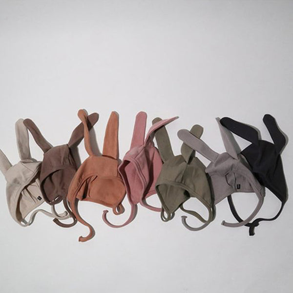 Bunny Ears Soft Cotton Bonnet Hat (Khaki)