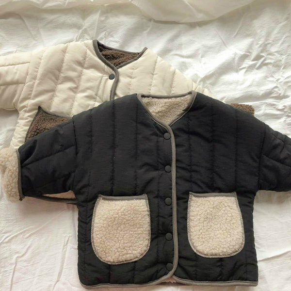 Hiro Teddy Trim Padded Coat (Black)