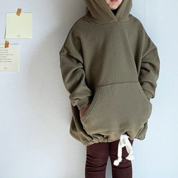 Long-line Hooded Sweatshirt (Khaki)