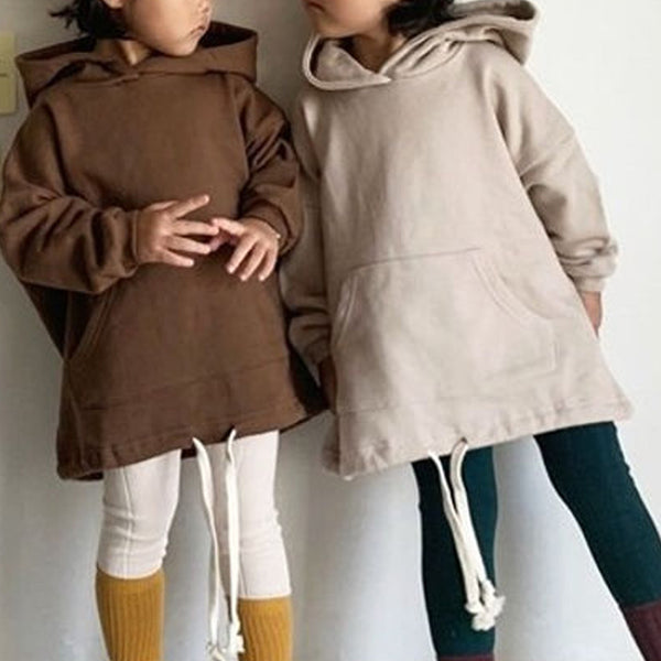 Long-line Hooded Sweatshirt (Beige)
