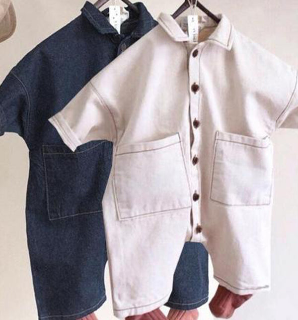 Jessie Button Romper Overalls (Dark Blue Denim)