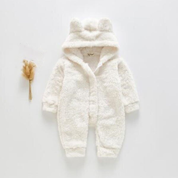 Bear Ear Fleece Zip up Outer Suit (Ivory)