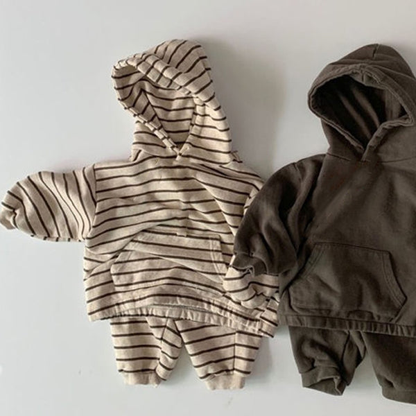 Rudy Oatmeal Stripe Hooded Top and Bottom Set