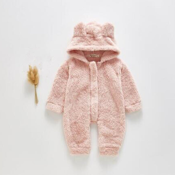Bear Ear Fleece Zip up Outer Suit (Pink)