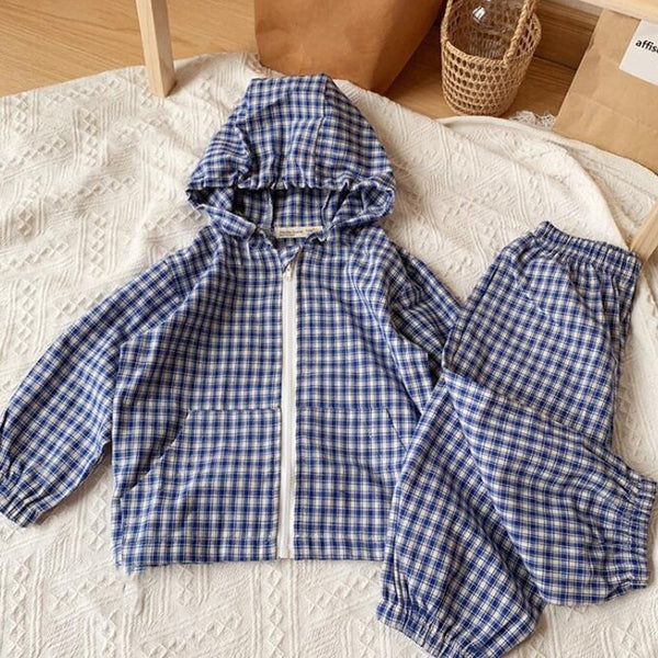 Check Cotton Hooded Jacket and Trouser Set (Blue)