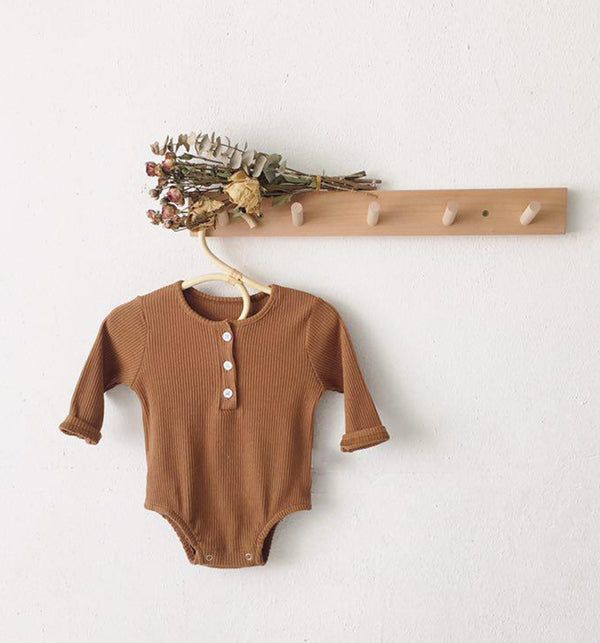 Bobby Ribbed Button Romper Body Suit (Toffee)