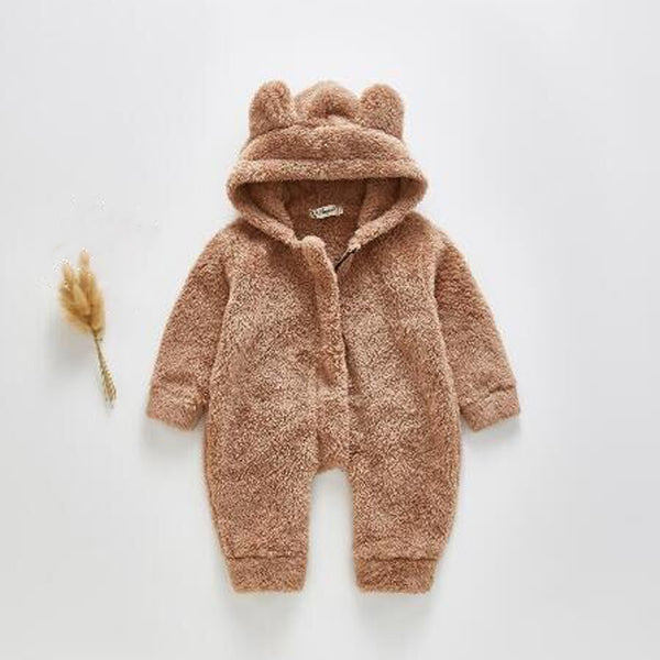 Bear Ear Fleece Zip up Outer Suit (Beige)