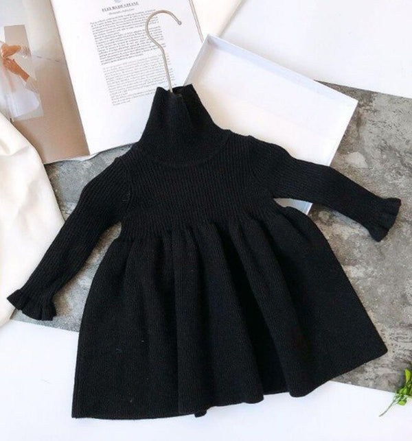 Ribbed Knit Baby Girls Kids Roll neck or turtle neck dress with full skirt and frill cuffs