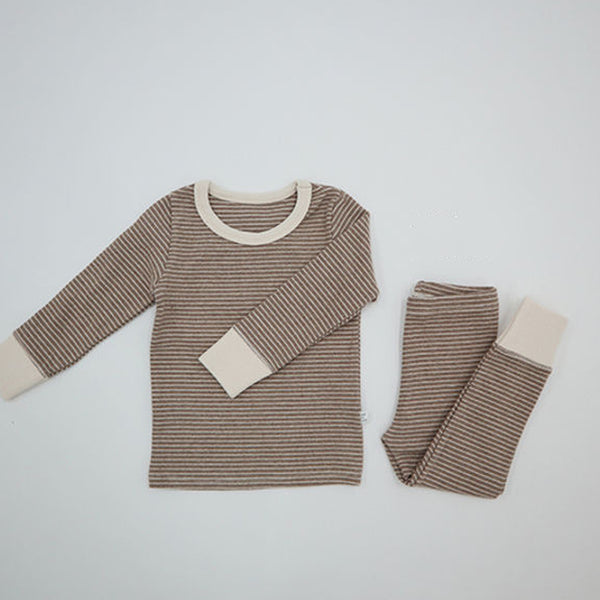 Warm Stripe Easywear Set (Beige)