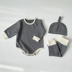 Sasha Stripe Romper Leggings and Hat Set (Charcoal)