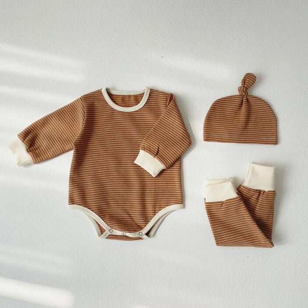Sasha Stripe Romper Leggings and Hat Set (Toffee)