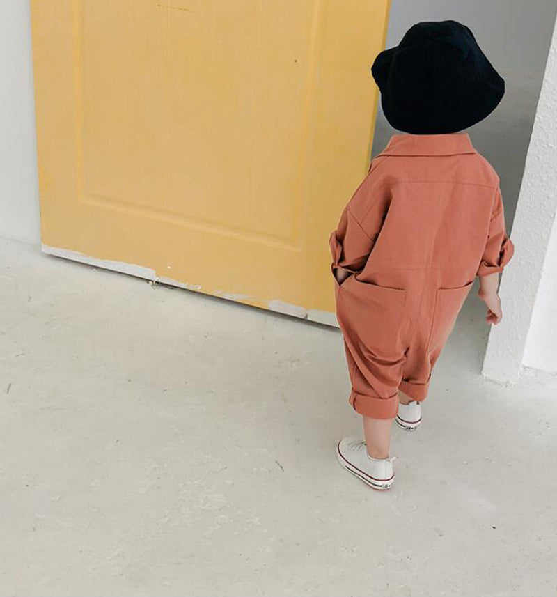 oversize unisex childrens orange rust pocket overalls all in one romper suit