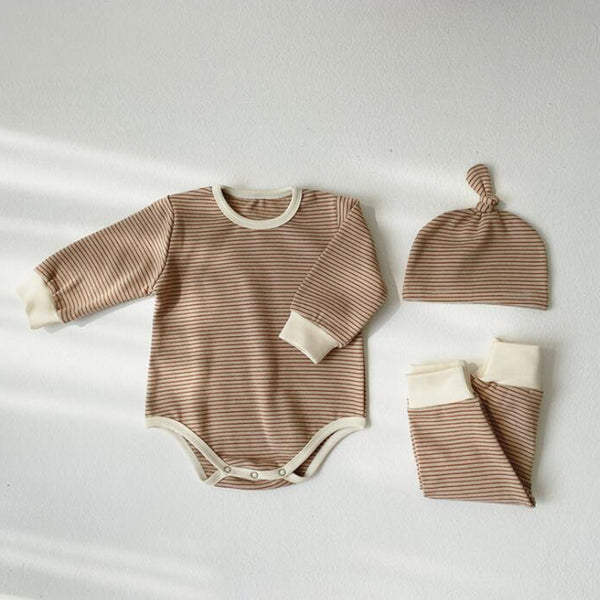 Sasha Stripe Romper Leggings and Hat Set (Beige)