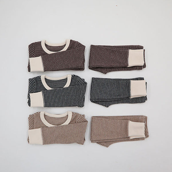 Warm Stripe Easywear Set (Charcoal)