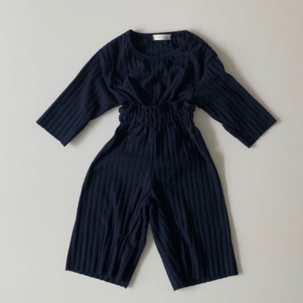 Warm Brushed Rib Top & Bottom Set (Navy)