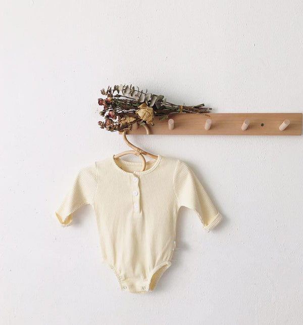 Bobby Ribbed Button Romper Body Suit ( Cream)