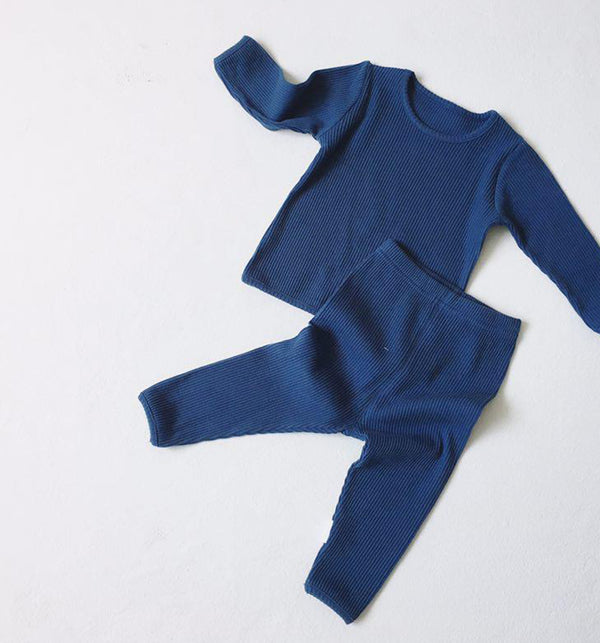 Bobby Ribbed T Shirt and Leggings Set (Blue)