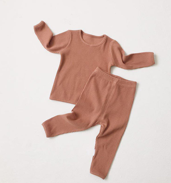 Bobby Ribbed T Shirt and Leggings Set (Pink)
