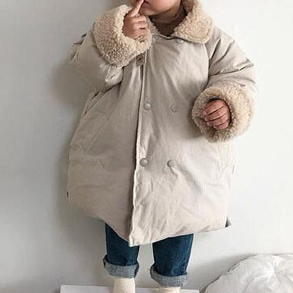 Silva Long Line Teddy Collar Warm Coat (Ivory)