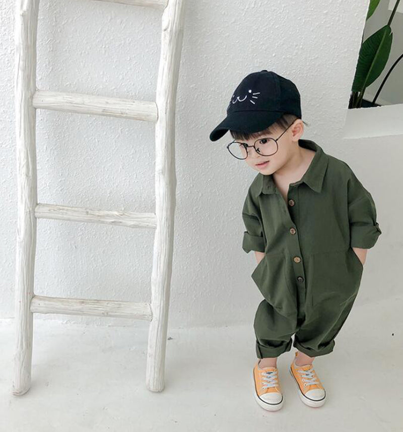 oversize unisex childrens green rust pocket overalls all in one romper suit