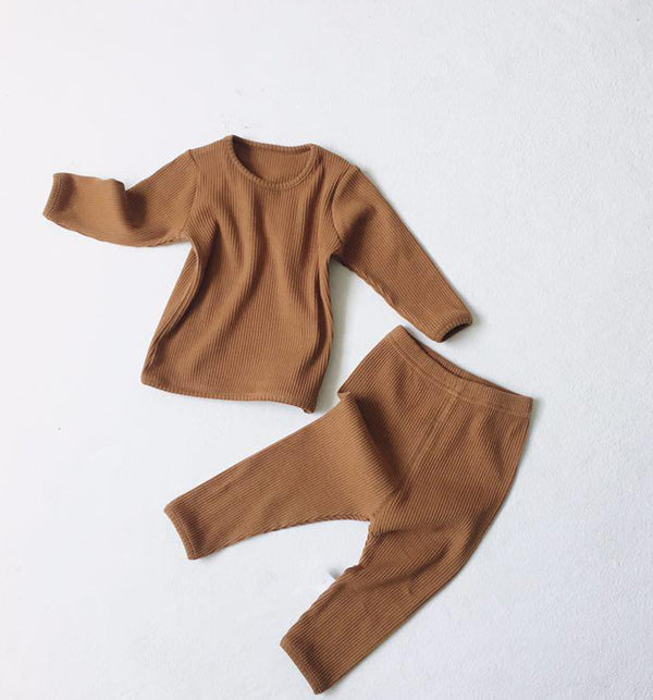 Bobby Ribbed T Shirt and Leggings Set (Toffee)