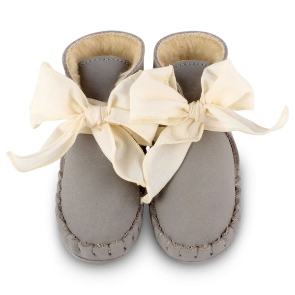 Pina Organza Lining Elephant Grey + Cream Cotton Booties