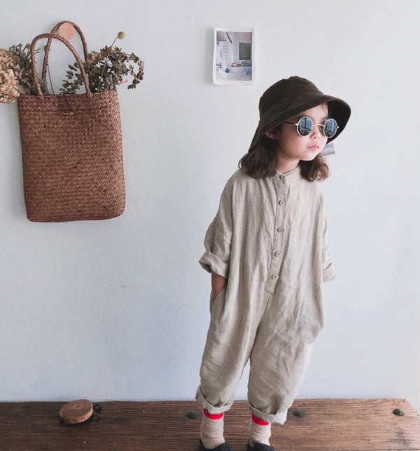 linen kids jumpsuit romper with round neck collar and buttons