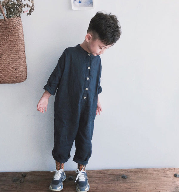 Joey Linen Button Collar Jumpsuit (Navy)