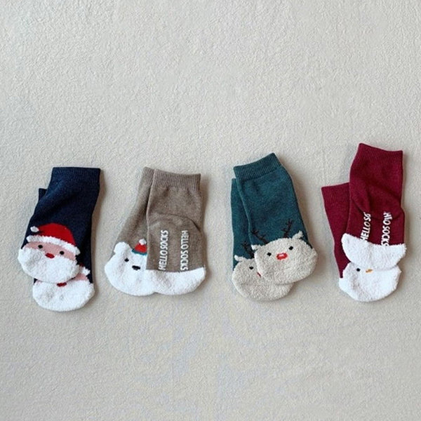 White Christmas Socks 4 Piece Set