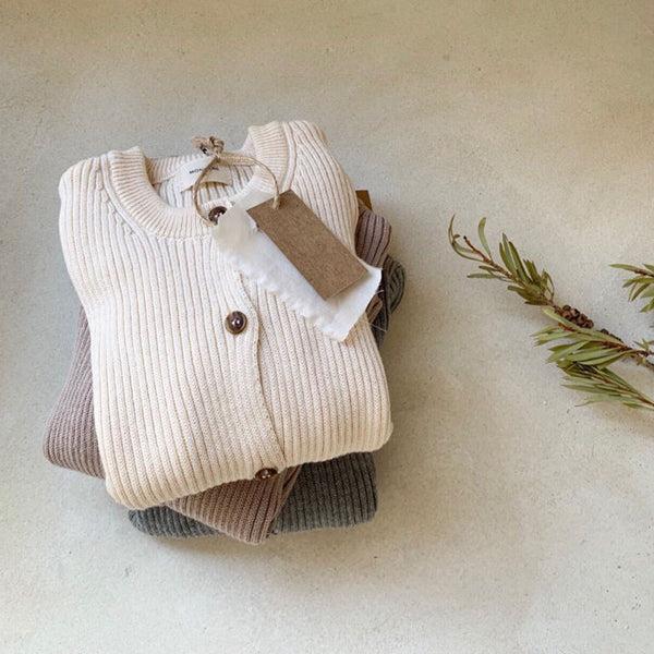 Billie Ribbed Button Cardigan (Cream)