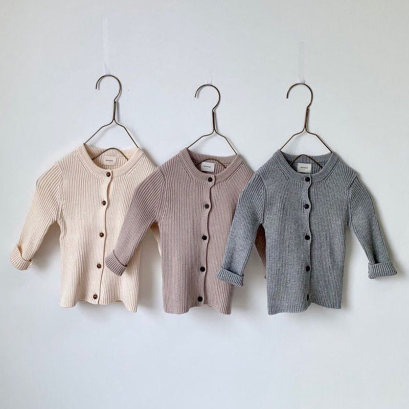 Billie Ribbed Button Cardigan (Beige)