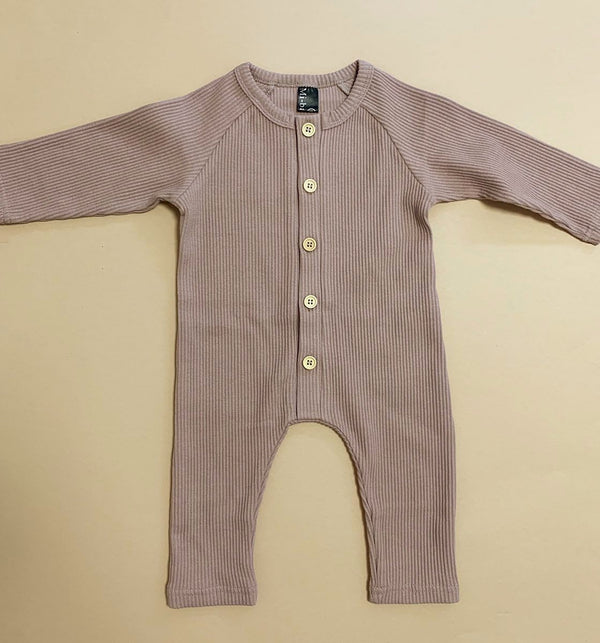 Ribbed Button footless Babygrow Romper Suit with contrast buttons