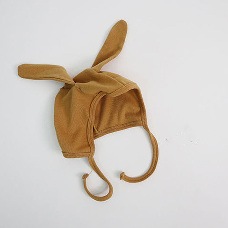 Bunny Ears Soft Cotton Bonnet Hat (Black)
