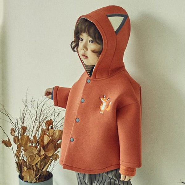 Fox embroidered kids jacket with fox ears and neoprene stripe