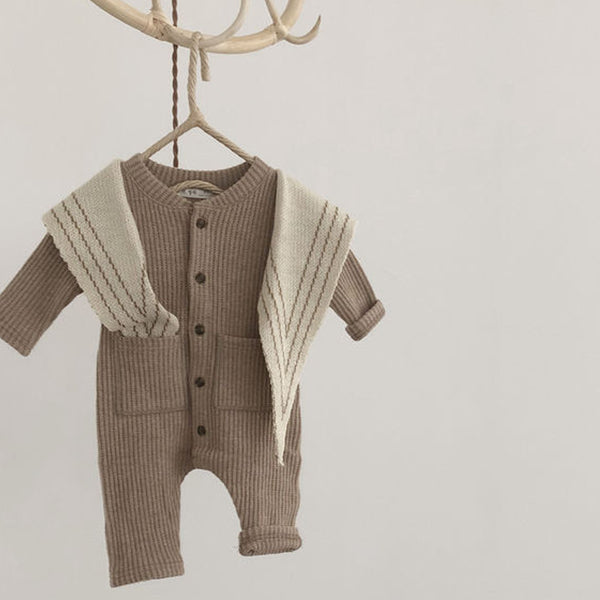 Soft Waffle Button Romper Playsuit (Beige)