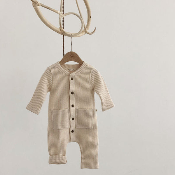 Soft Waffle Button Romper Playsuit (Cream)
