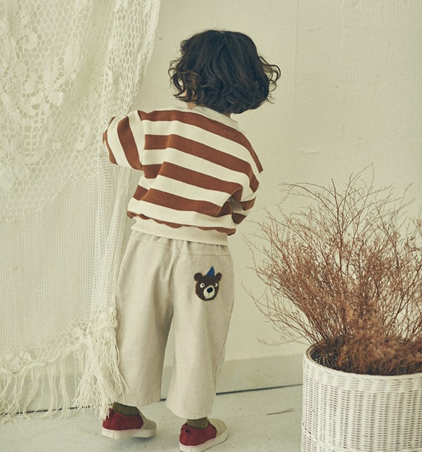 Kids & Baby Bear Motif Corduroy Trousers (Light Beige)