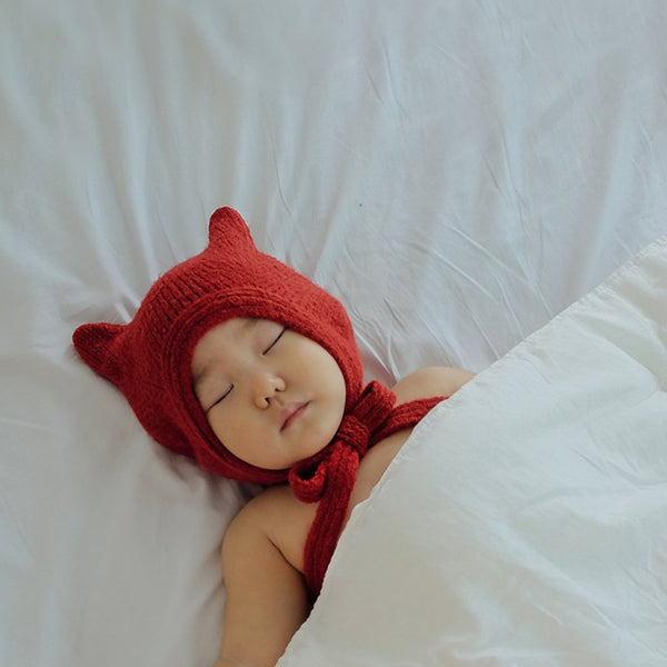 Meow Knit Bonnet Hat (Red)